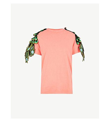 RAGYARD Peacock appliqué cotton T-shirt (Red