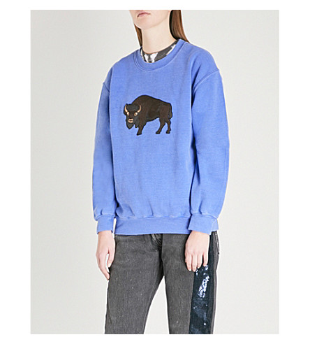 RAGYARD Sunrise-patch cotton-jersey sweatshirt (Blue