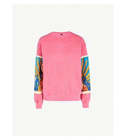 RAGYARD Printed-sleeve cotton-jersey sweatshirt (Pink