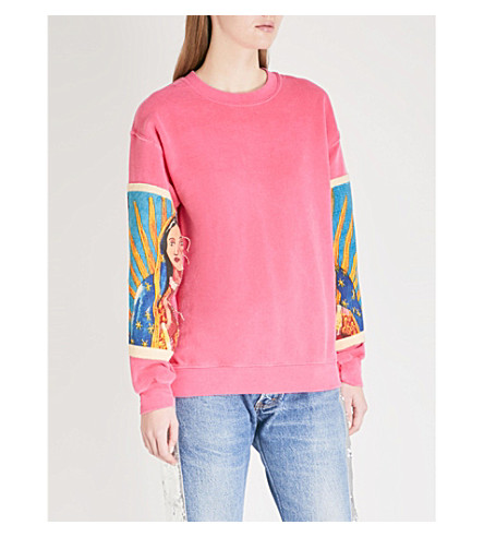 RAGYARD Printed-sleeve cotton-jersey sweatshirt (Pink