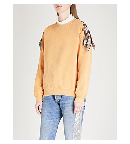RAGYARD Feather and star-embroidered cotton-jersey sweatshirt (Yellow