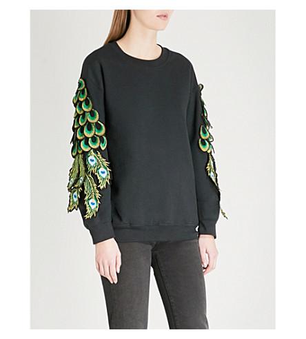 RAGYARD Peacock appliqué cotton-jersey sweatshirt (Black