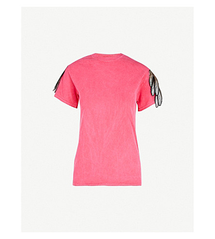 RAGYARD Appliquéd distressed cotton T-shirt (Pink