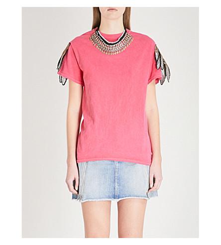 RAGYARD Appliquéd distressed cotton T-shirt (Pink