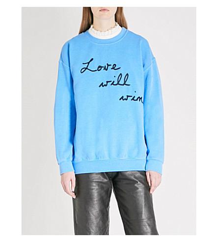 RAGYARD Love Will Win embroidered cotton-jersey sweatshirt (Blue