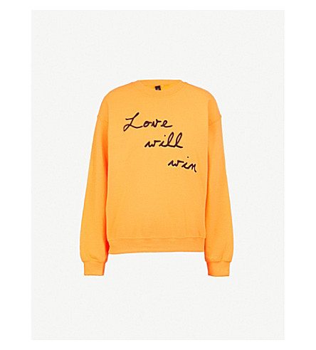 RAGYARD Love Will Win embroidered cotton-jersey sweatshirt (Orange