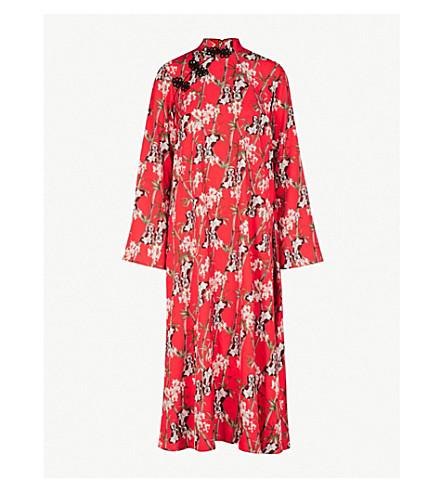 RAGYARD和服式缎纹绉迷笛连衣裙 (红色