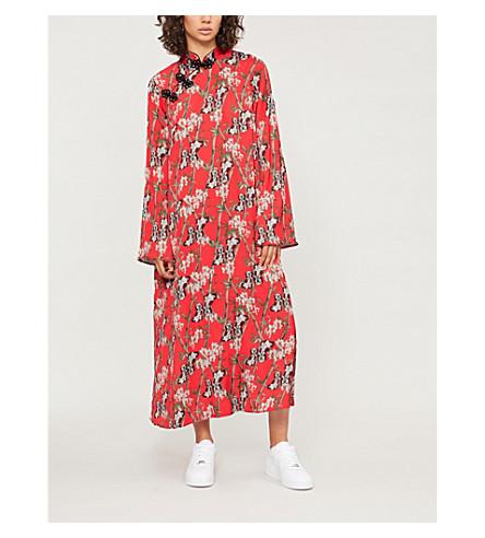 RAGYARD Kimono-style satin-crepe midi dress (Red