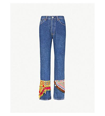 RAGYARD Bead-embellished high-rise straight jeans (Light blue