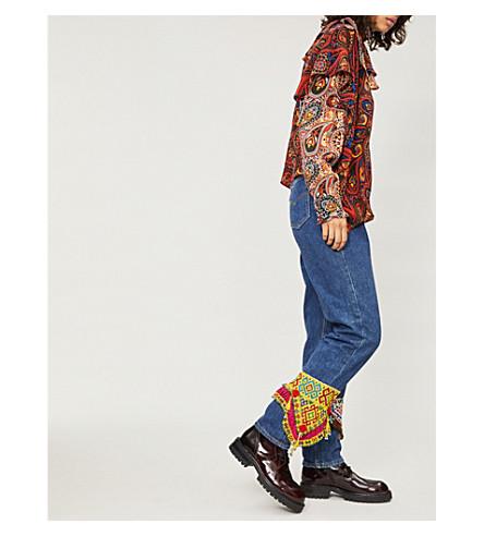 RAGYARD珠点缀高腰直牛仔裤 (淡 + 蓝