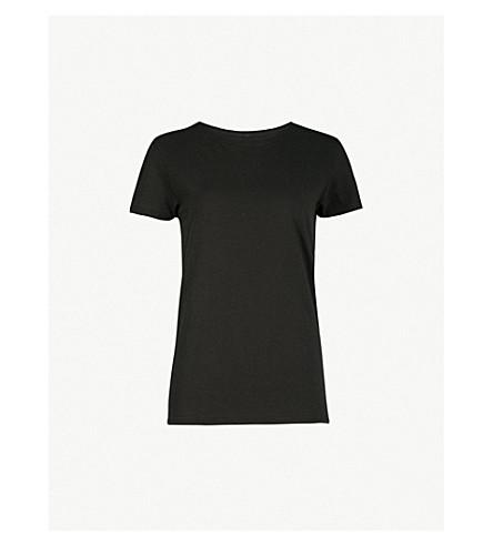 RAGYARD珠点缀平纹针织棉 T 恤 (黑色