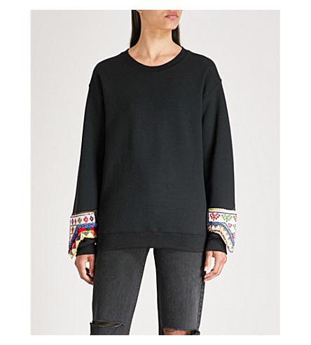 RAGYARD珠点缀平纹针织棉毛衣 (黑色