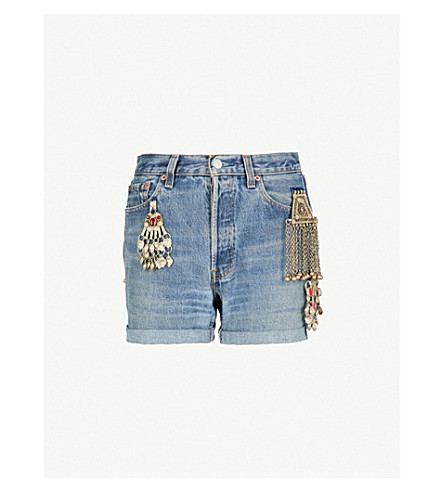 RAGYARD Embellished high-rise denim shorts (Blue
