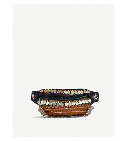 RAGYARD Coin-embellished embroidered leather bum bag (Multi