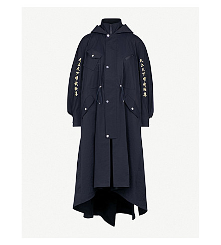 ANGEL CHEN Embroidered shell coat (Navy