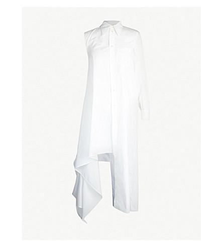 MM6 MAISON MARGIELA Asymmetric-hem cotton-poplin maxi dress (White