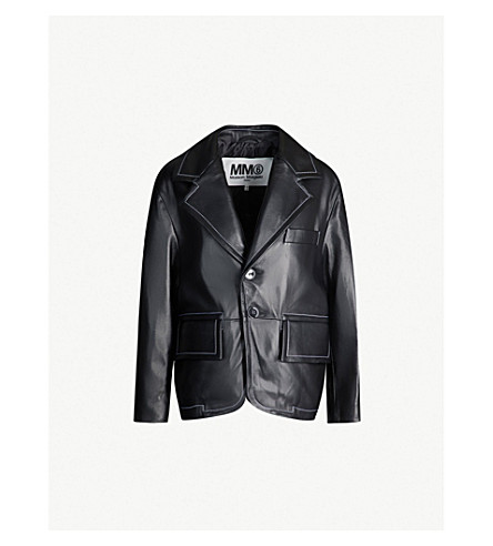 MM6 MAISON MARGIELA Contrast-stitch single-breasted leather jacket (Black