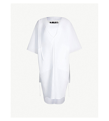 MM6 MAISON MARGIELA V-neck cotton-poplin shirt dress (White