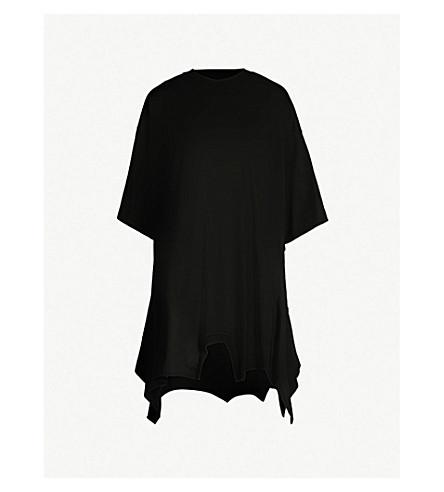 MM6 MAISON MARGIELA Asymmetric-hem cotton-jersey T-shirt (Black