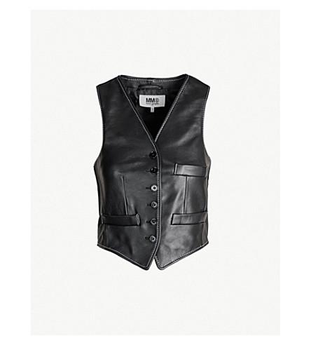 MM6 MAISON MARGIELA Contrast-stitch leather waistcoat (Black