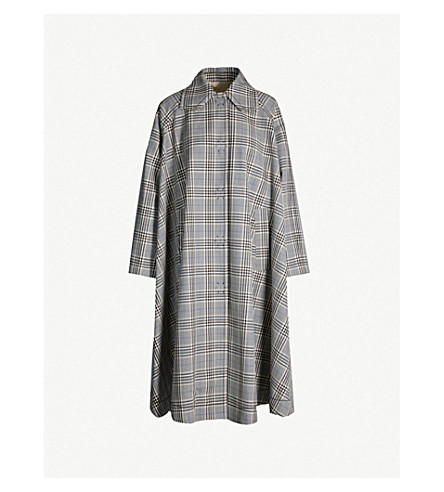 MM6 MAISON MARGIELA Checked flared-hem wool-blend coat (Grey
