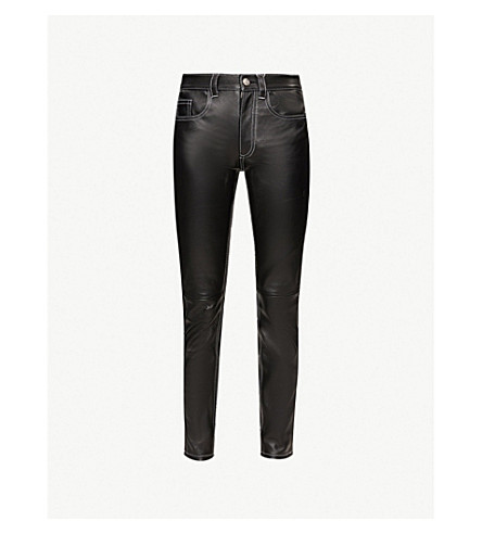MM6 MAISON MARGIELA Contrast-stitch leather trousers (Black