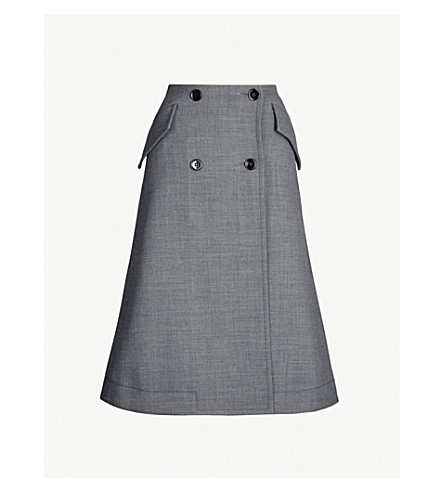 MM6 MAISON MARGIELA Button-front A-line woven skirt (Grey