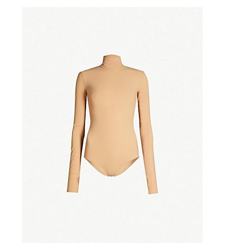MM6 MAISON MARGIELA 高领衫弹力平纹针织身体 (棕色)