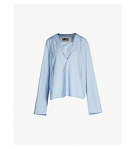 MM6 MAISON MARGIELA Ruched overlay-panel cotton-poplin shirt (Blue