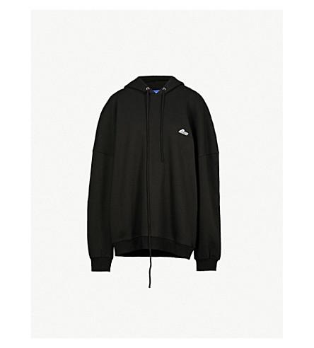 WE11 DONE Oversized appliquéd cotton-jersey hoody (Black