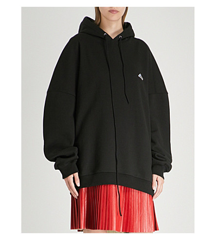 WE11 DONE Oversized appliquéd cotton-jersey hoody (Black