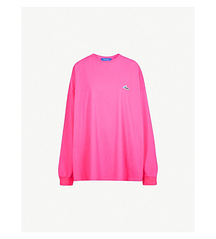 WE11 DONE Logo-patch oversized cotton-jersey sweatshirt (Pink