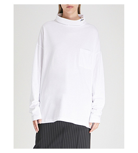 WE11 DONE Logo-patch oversized cotton-jersey turtleneck top (White
