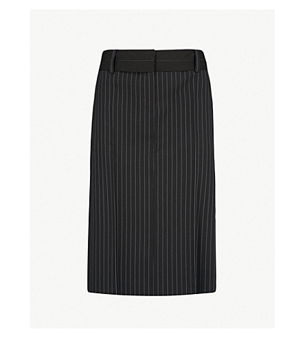 WE11 DONE Pinstriped woven midi skirt (Black
