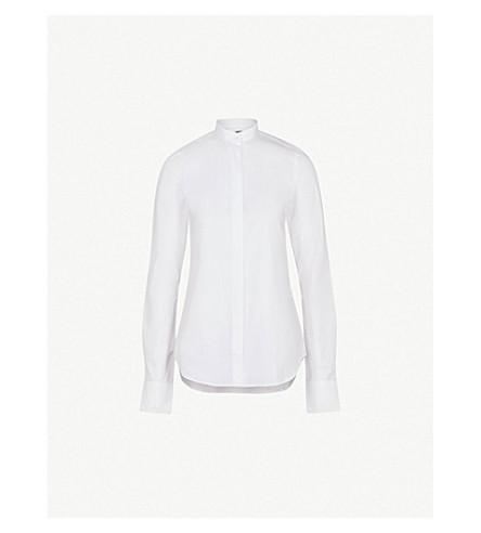 ROKH Band-collared cotton-poplin shirt (White