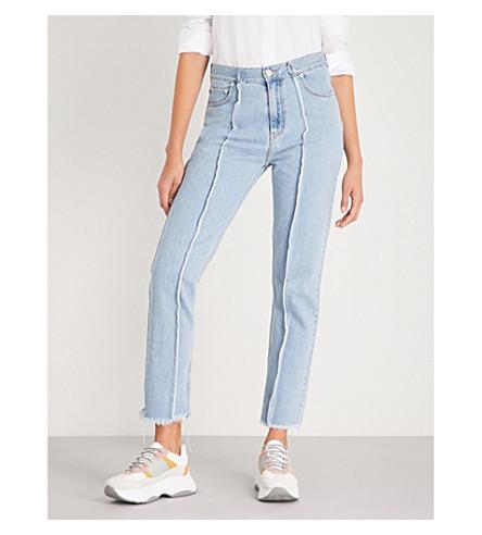 ROKH Raw-edged high-rise slim-fit jeans (Light+blue