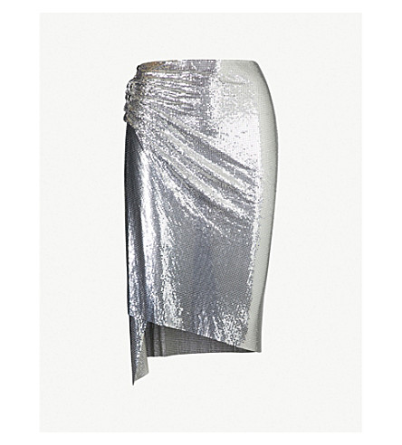 PACO RABANNE Metallic chainmail skirt (Silver