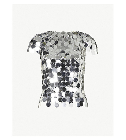 PACO RABANNE Short-sleeved sequinned top (Silver