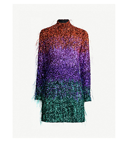 ASHISH Dégradé sequin and tinsel-embellished mini dress (Sunset ombre