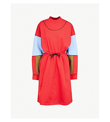 MSGM Colour-blocked cotton-jersey sweatshirt dress (Red