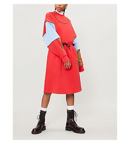 MSGM Colour-blocked cotton-jersey sweatshirt dress (Red