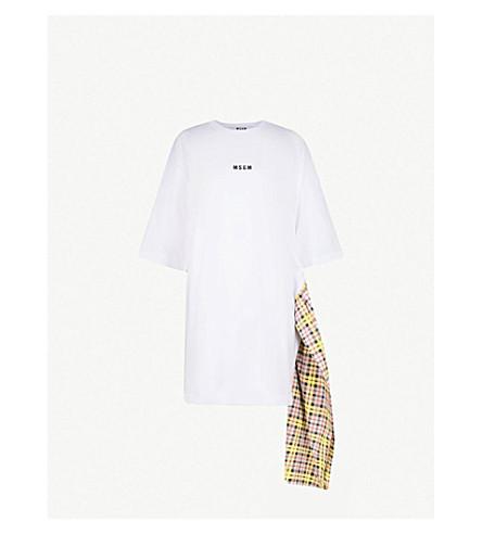 MSGM格子领带棉 T 恤 (白色
