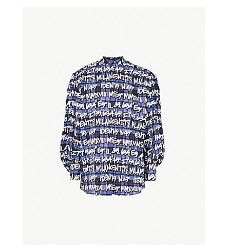 MSGM Graffiti logo-print cotton shirt (Multi