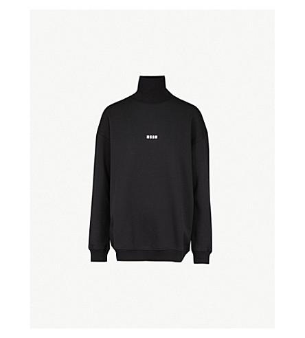 MSGM微徽标打印平纹针织棉卫衣 (黑色