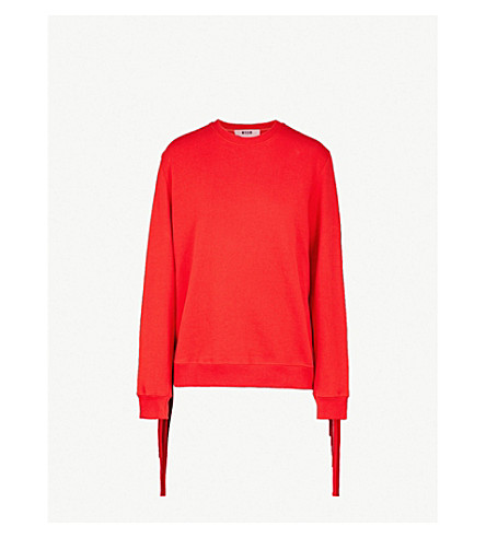 MSGM流苏平纹针织棉卫衣 (红色