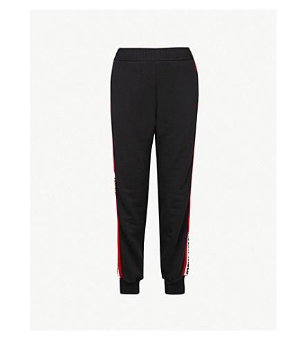 MSGM标志磁带平纹针织棉慢跑裤 (黑色