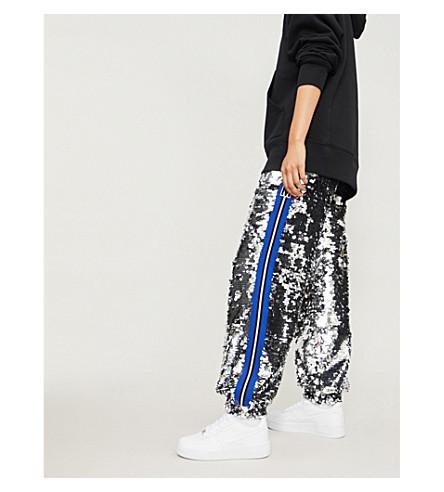 MSGM条纹修剪棉和亮片慢跑裤 (银色