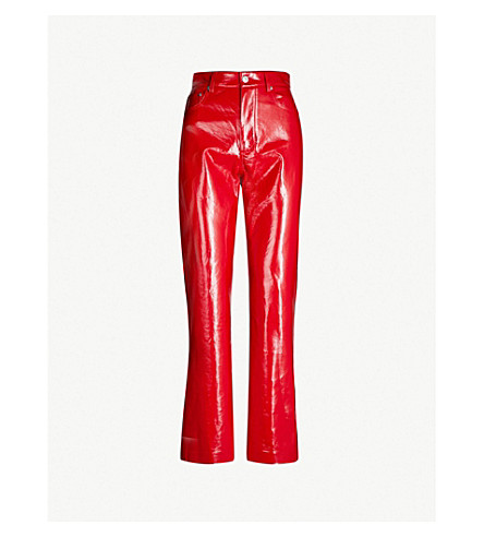 MSGM Straight high-rise patent faux-leather pants (Red
