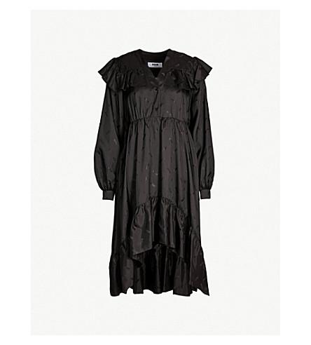 MSGM Logo-print ruffled crepe midi dress (Black 99