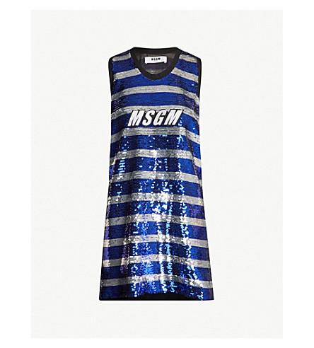 MSGM Logo-print striped sequinned mini dress (Blu/silv